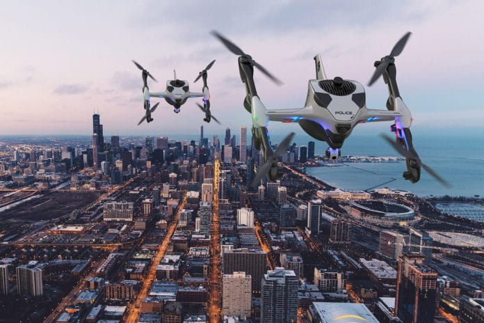Police drones equipped with flashing lights, sirens, sensors and cameras.