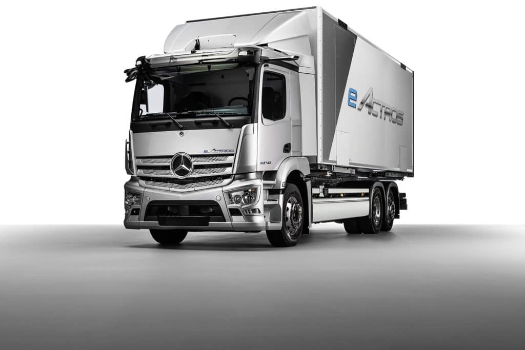 The battery-electric Mercedes-Benz eActros truck.