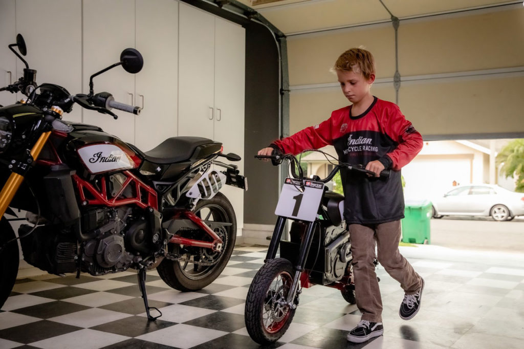 The eFTR Jr can accommodate riders eight years and older when in low mode.