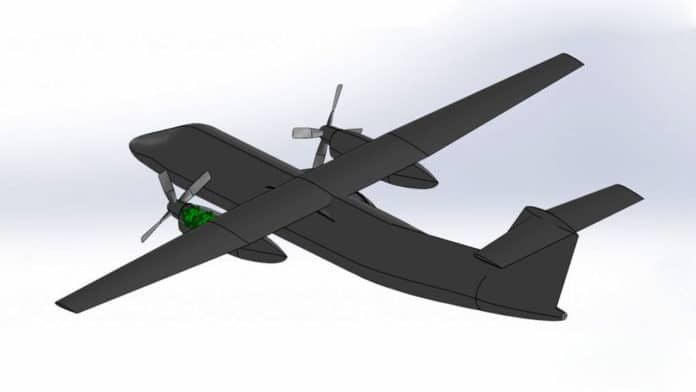 An artist's rendering shows a hydrogen-fueled Dash 8 airplane.