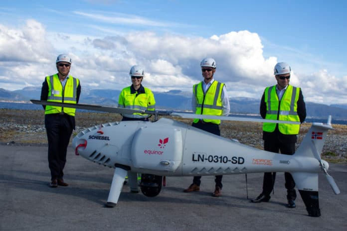 Camcopter S-100 drone carried out world's first offshore oil rig delivery.