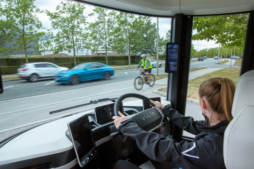 The driver of a Volta Zero has a wide 220-degrees of direct vision around the vehicle.