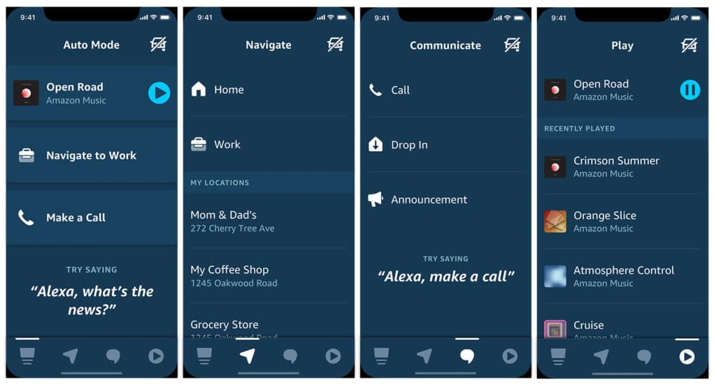 Auto Mode consists of four screens - the Auto Mode home screen, Navigation, Communicate, and Play