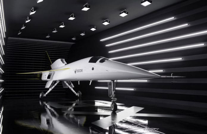 Boom Supersonic rolls out its faster-than-sound XB-1 demonstrator aircraft.
