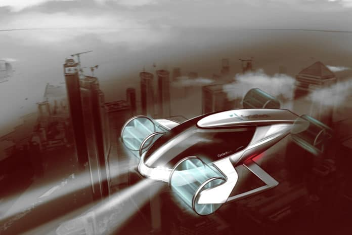 CycloTech's rendering of its Cyclogyro propulsion techonology on an air taxi.