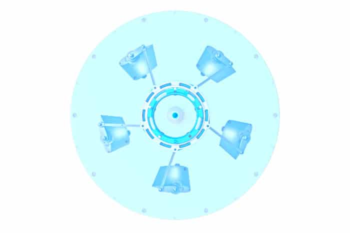 A Cyclogyro-rotor has several blades rotating around a central rotation axis