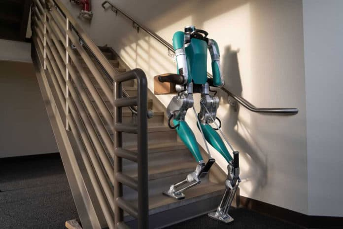 Headless Digit robot can carry boxes up the stairs.