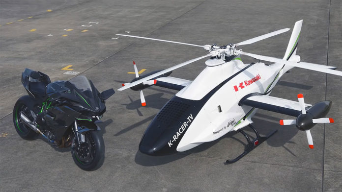 Kawasaki successfully tests the Ninja H2R-powered K-RACER helicopter.