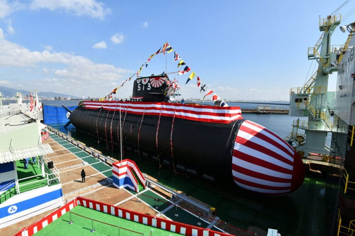 Japan launches Taigei, the first of its new class submarines.