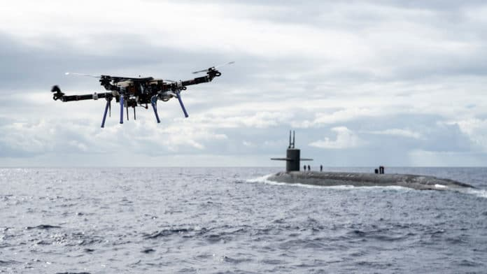 The U.S. Navy used drones to deliver cargo to ballistic-missile submarine.