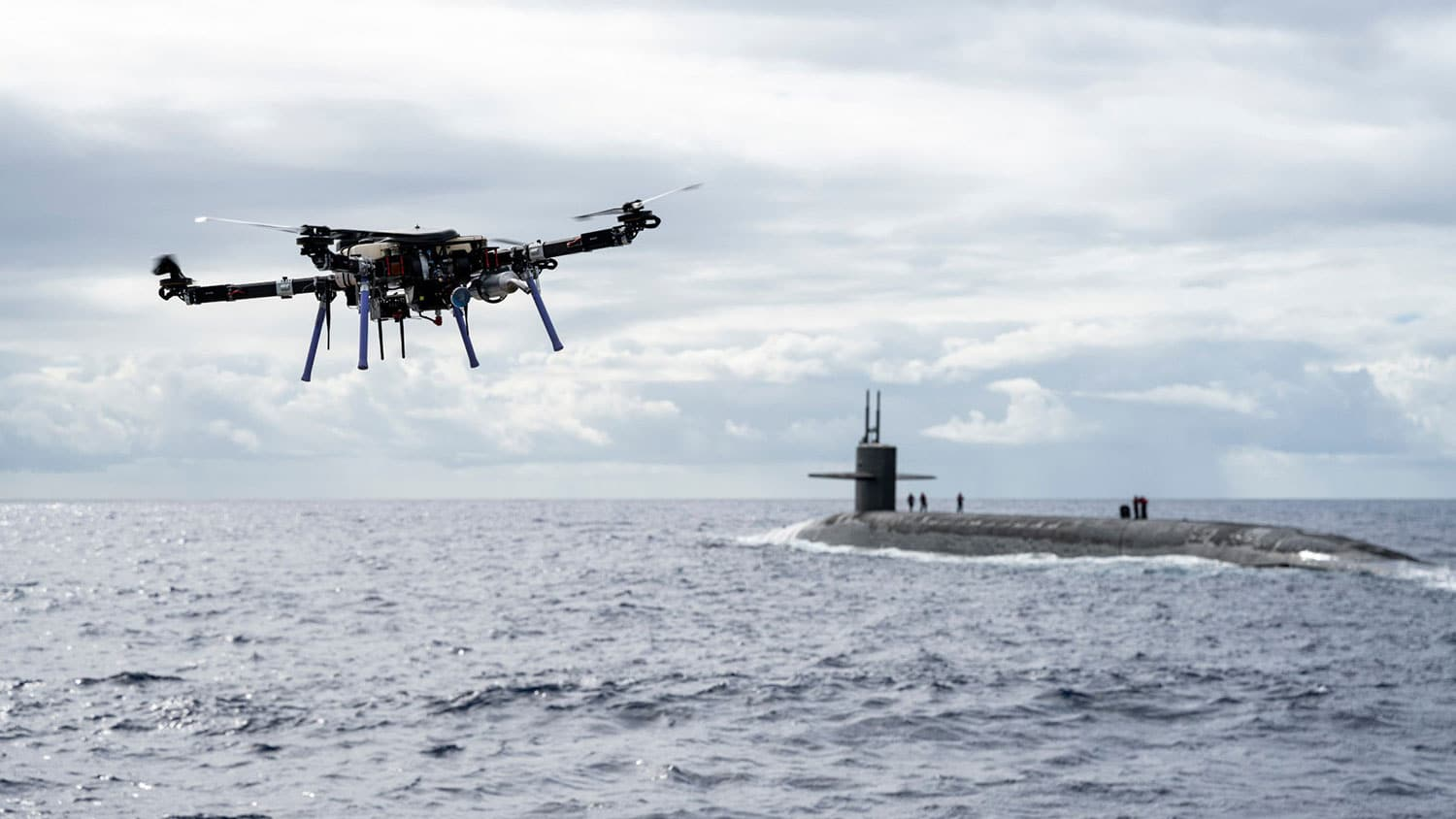 The U.S. Navy used drones to deliver cargo to ballistic-missile submarine