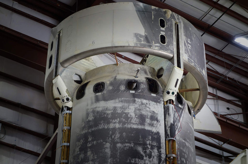 New Shepard booster undergoing integration and testing of the sensor experiment at Blue Origin's West Texas Launch Site.