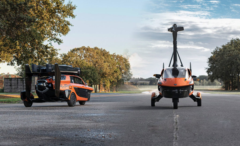 It is a compact two-person aircraft that can travel on public roads.