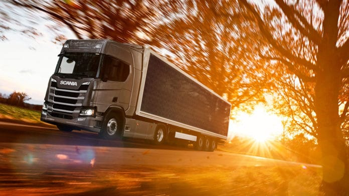 Scania tests truck trailers covered with solar panels for fuel saving.