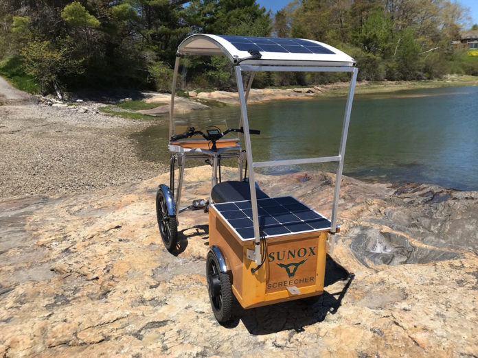The Screecher, a solar power-assisted four-wheeled pedal cycle.