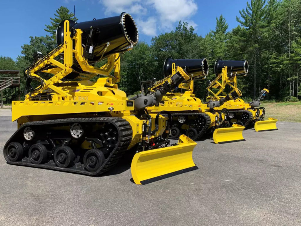 robotic firefighting vehicle capable of flowing 2,500 gallons of water per minute.