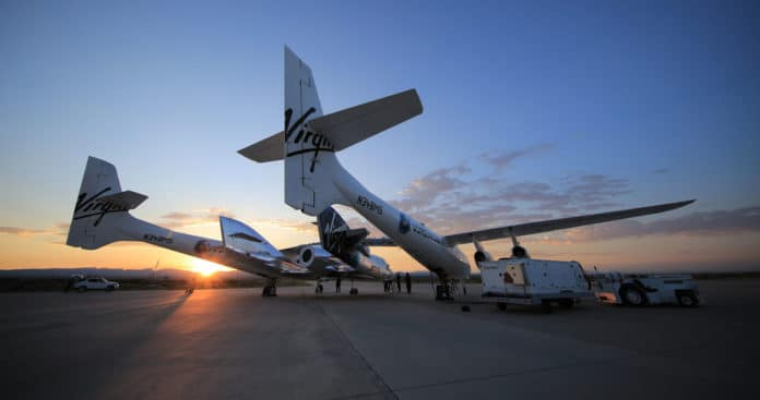 Virgin Galactic's SpaceShipTwo prepares for the first spaceflight.