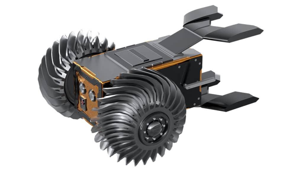 Artist's render of Spacebit Wheeled Rover V1 design in development.