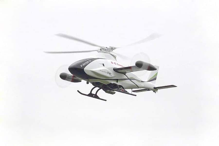 The Kawasaki helicopter was tested unmanned and controlled autonomously.