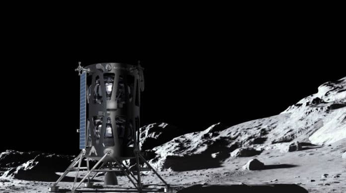 Artist's illustration of Intuitive Machines' Nova-C lunar lander on the Moon.