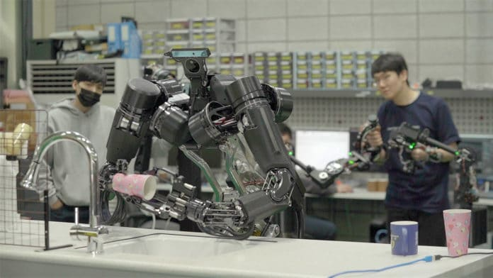 AMBIDEX cable-driven robot learns to wash dishes, peel vegetables.