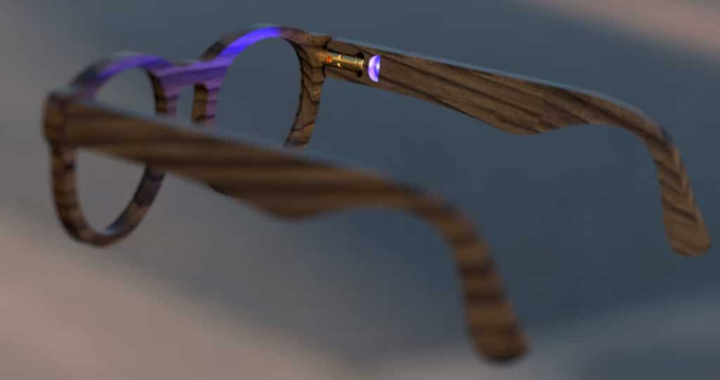 """The glasses independently activate the blue """"turn signals""""."""
