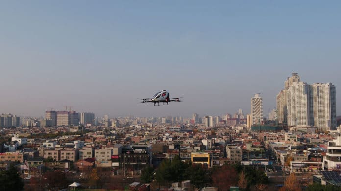 EHang 216 air taxi completes its maiden flights in three Korean locations.