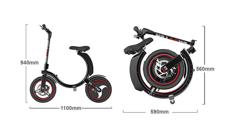 The two-wheeled mix folds down into a sort of wheeled ring.
