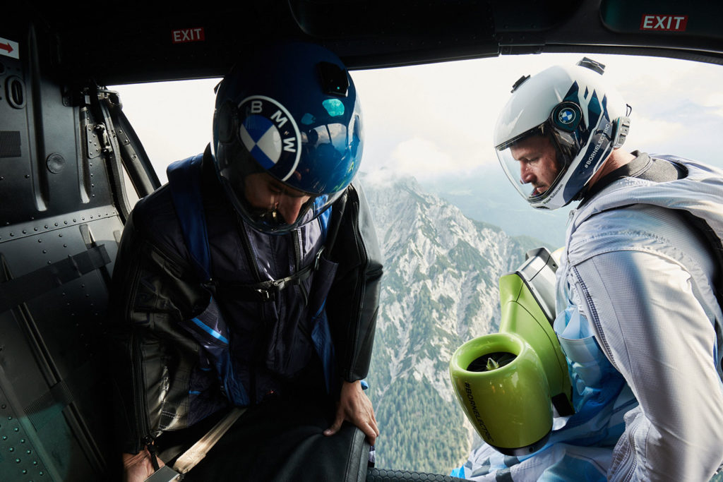 For maiden flight, Salzmann was dropped by helicopter at 3,000 meters.