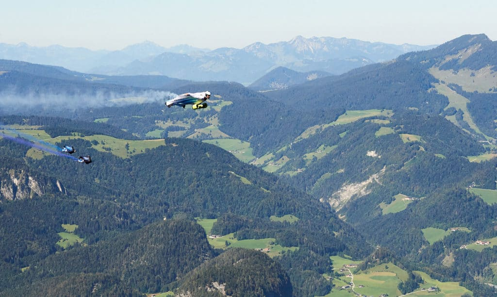 The Electrified Wingsuit allows the pilot to fly at speeds of more than 300 km/h.