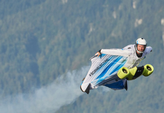 The first flight of 300 km/h electrified wingsuit powered by BMW i.