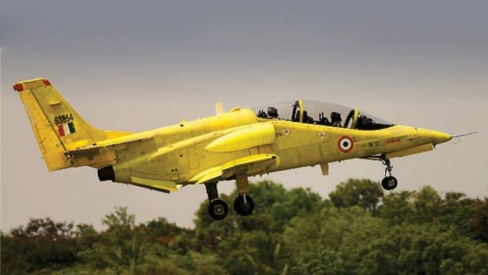 The HAL HJT-36 Sitara, a subsonic intermediate jet trainer aircraft.