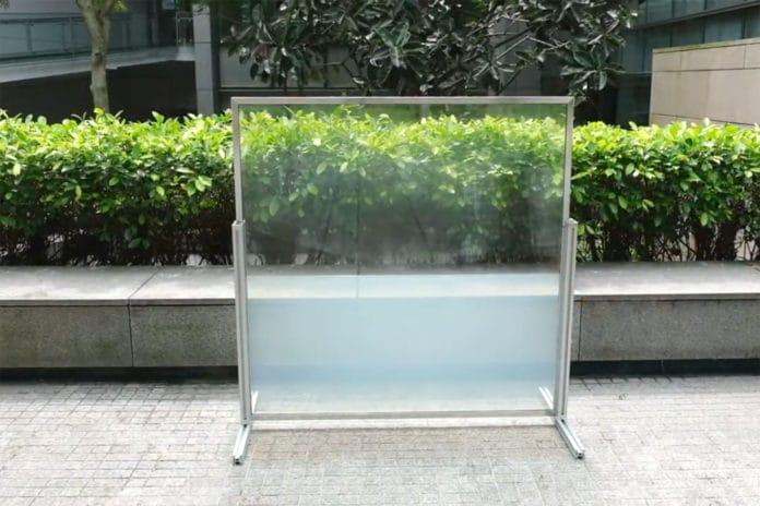 Energy-saving 'liquid window' turns opaque when exposed to heat.