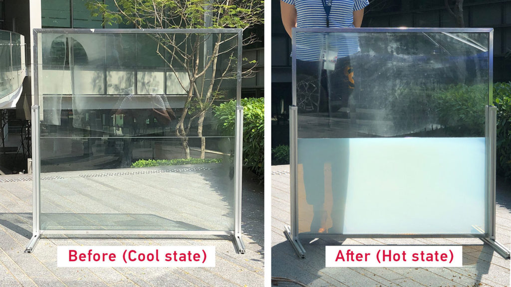A composite photo showing the window in the before (cool) and after (hot) state.