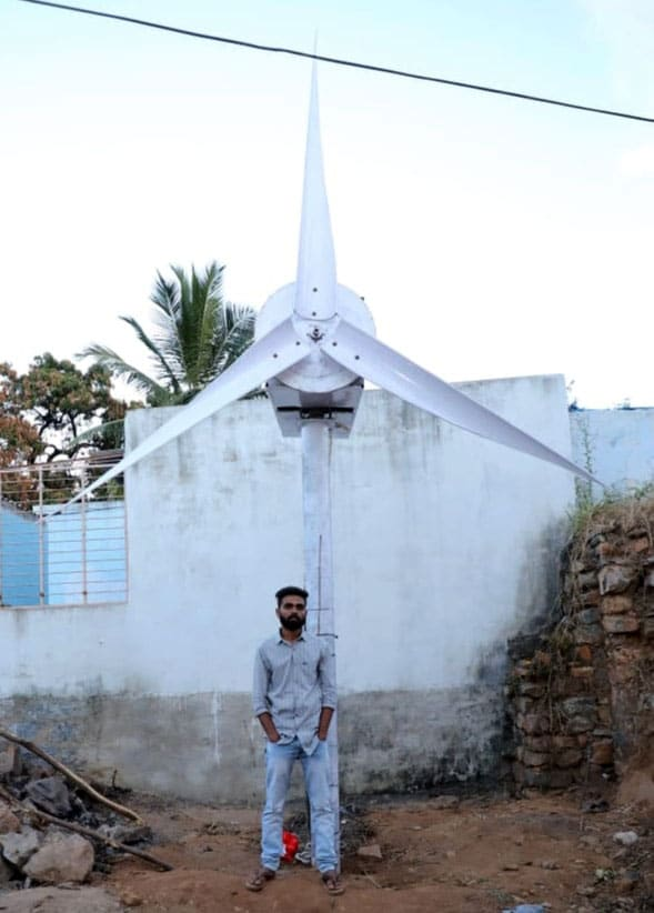 Madhu Vajrakarur with his Wind turbine