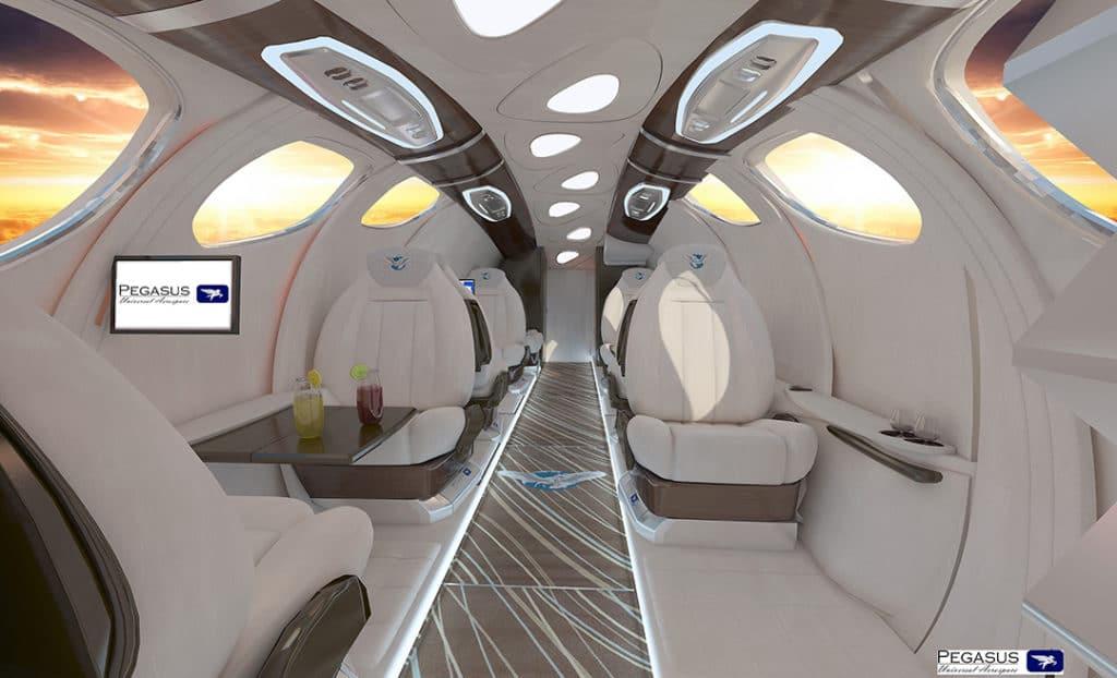 The Pegasus Vertical Business Jet Interior.