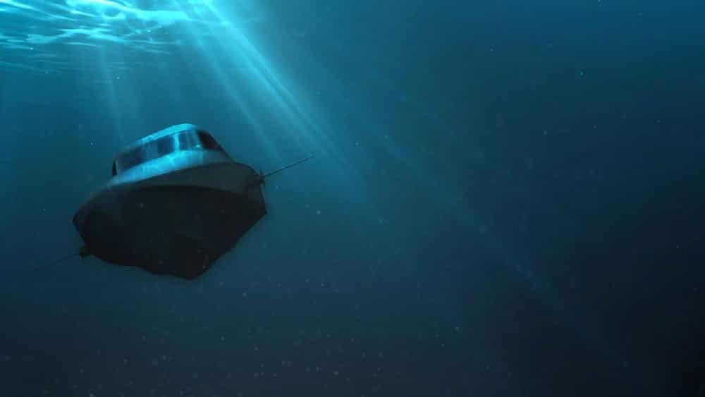 This futuristic sports boat capable of diving for up to four hours.