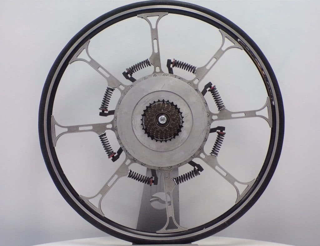 A wheel that is powered by cyclist's body weight