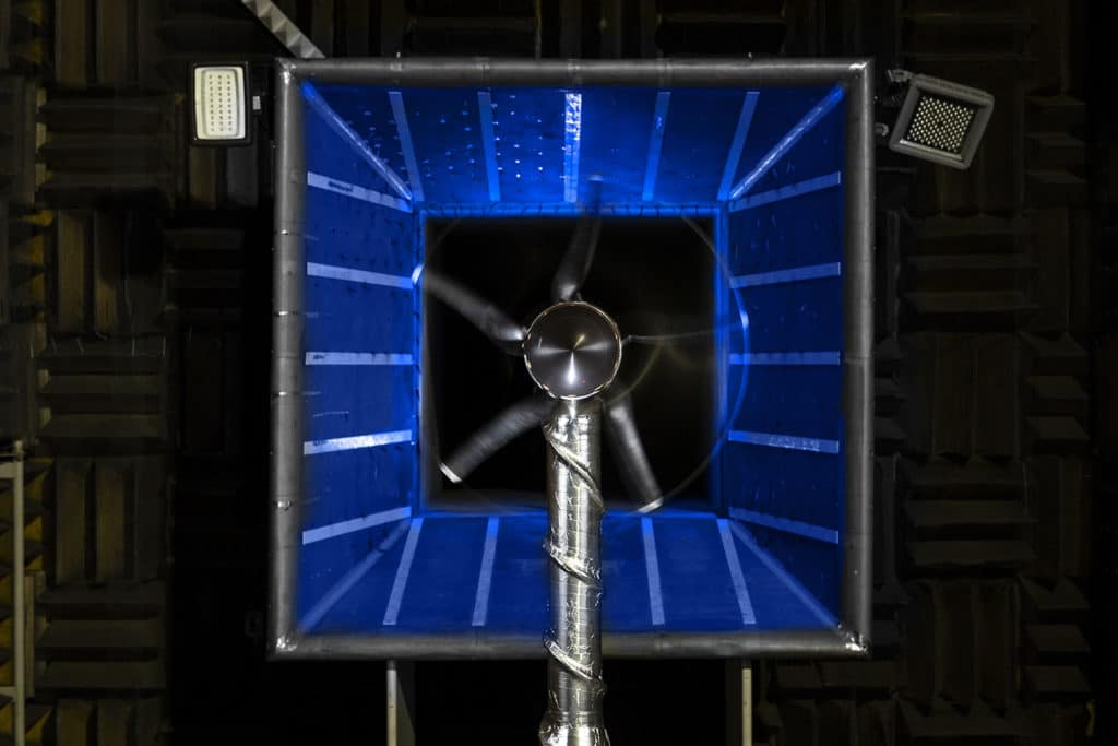 NASA's all-electric X-57 propeller designs undergo wind tunnel tests.