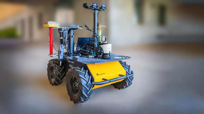 The base robot for the new plant-moisture-measuring system navigates rows of crops to reach individual leaves and stems.