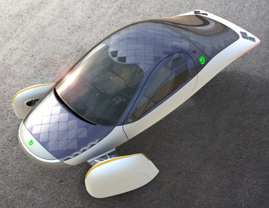 The Aptera EV has a solar roof array, making it possible to drive 45 miles of a day