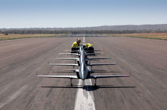 The five aircraft took off, completed various formations and landed autonomously as part of the test mission.