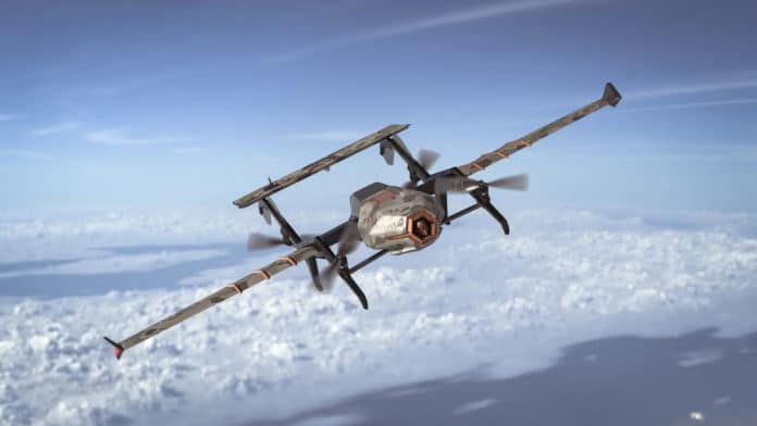 This designer drone combines the best of helicopter and aircraft design.