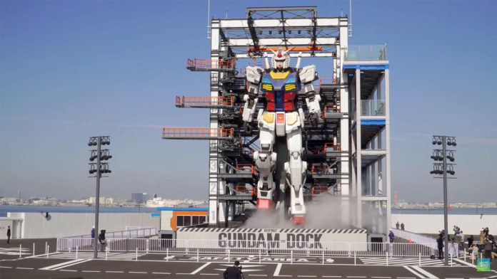 Long-awaited, giant 60-foot-tall Gundam robot is officially unveiled in Japan.