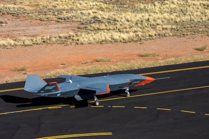 Boeing Australia's Loyal Wingman displays its orange flight-test livery.