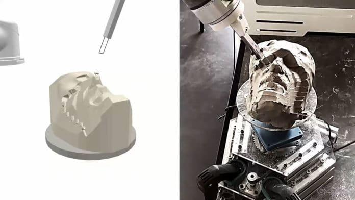 RobotSculptor uses a standard 6-axis robot arm to sculpt clay models.