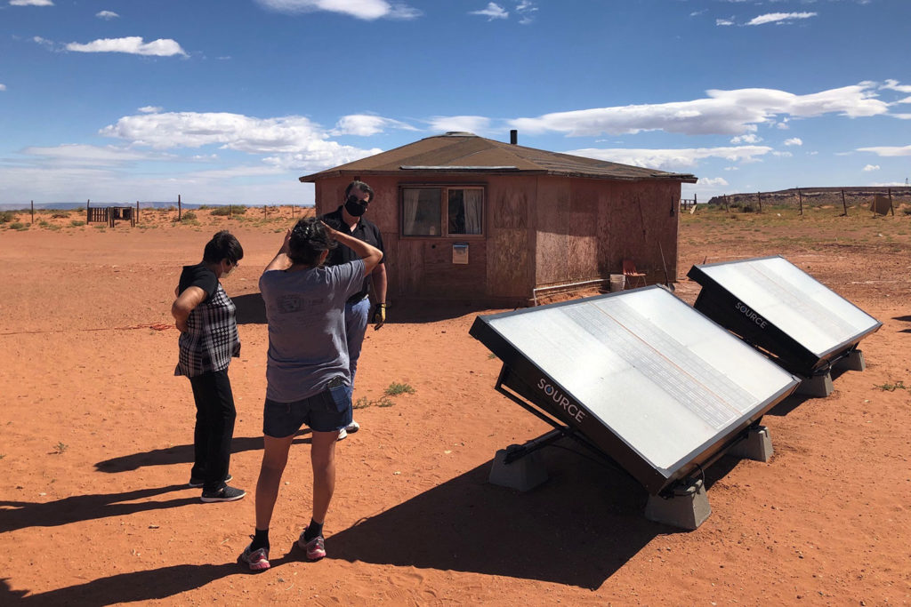 Solar-powered hydropanel harvests up to 10 liters of drinking water per day from air.