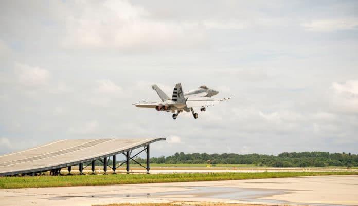 Boeing demonstrates F/A-18 Super Hornet's ski-jump launch capability.