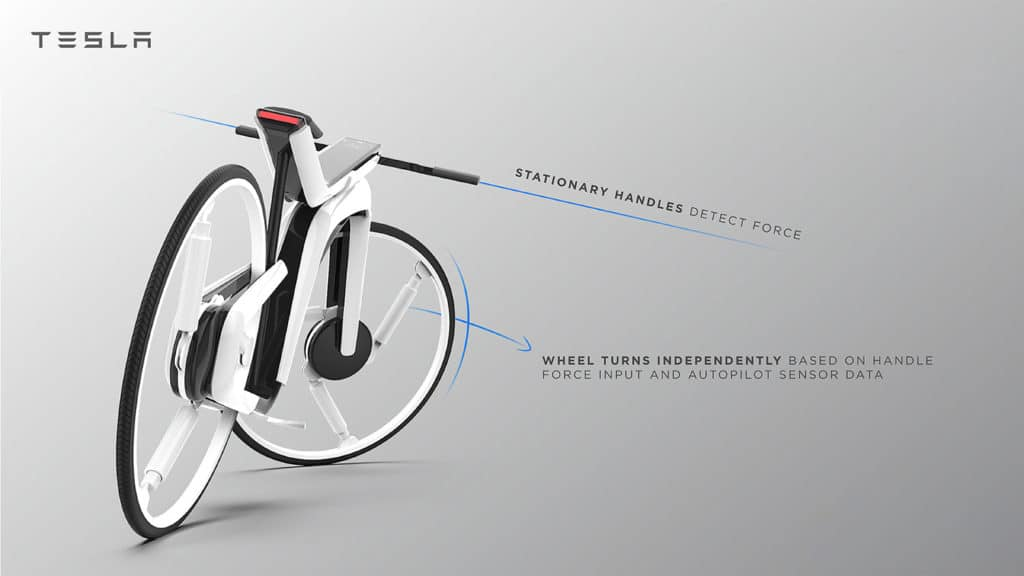 Wheel turns independently based on handle force input and autopilot sensor data.