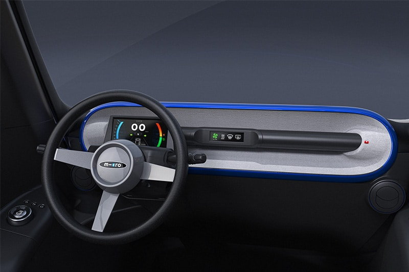 The design of the dashboard replaces the switches/buttons on the central bar with a touch display.